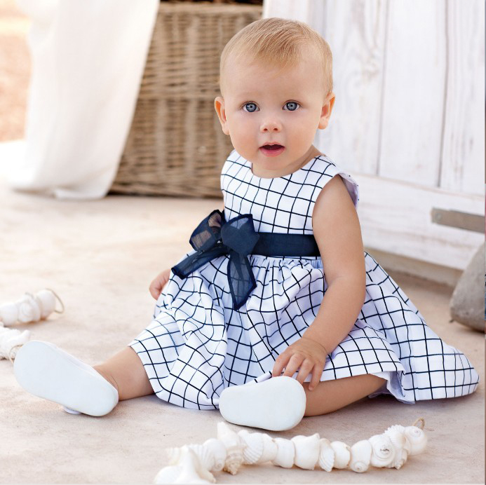 0-2 Year Baby Kids Girl Dress summer 2017 girl clothing blue plaid sleeveless Princess Dress Party Girls costume