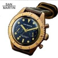Сан Мартин шестьдесят пять бронзовые автоматические дайвинг часы ETA7753 хронограф часы 200 м водостойкий Бронзовый ободок Ретро наручные часы