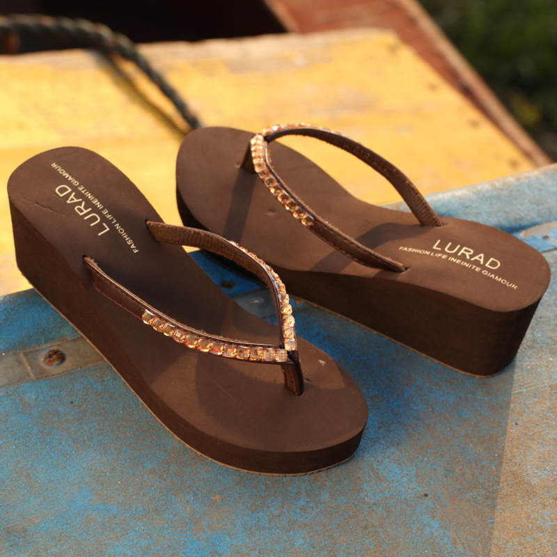 77c3eb42368 DreamShining Summer Sandals Casual High Heels Slippers Simple Design Women  Sandalias Soft Platform Sandals For Female Flip Flops-in Slippers from Shoes  on ...