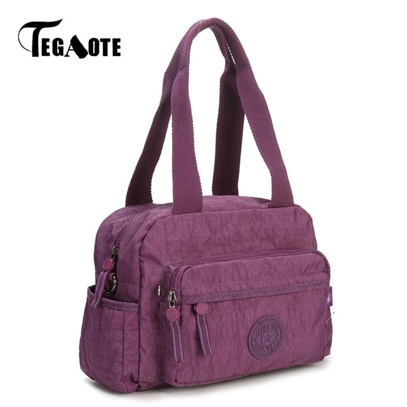 TEGAOTE Bags Handbags Women Famous Brand Solid Female Shoulder Bag Small Summer Beach Bag Nylon Purse Sac A Main Bolsas Feminina