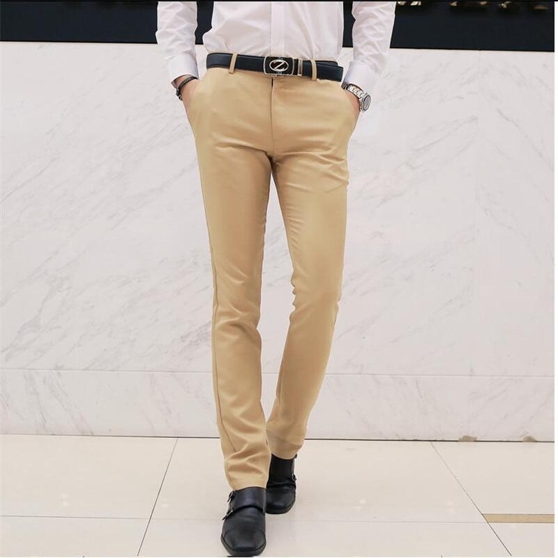 Новинка 2017 года Дизайн Повседневное Для мужчин Брюки для девочек хлопок тонкий брюки прямые брюки модные Бизнес Твердые Хаки Черные Брюки Для мужчин плюс Размеры 3XL