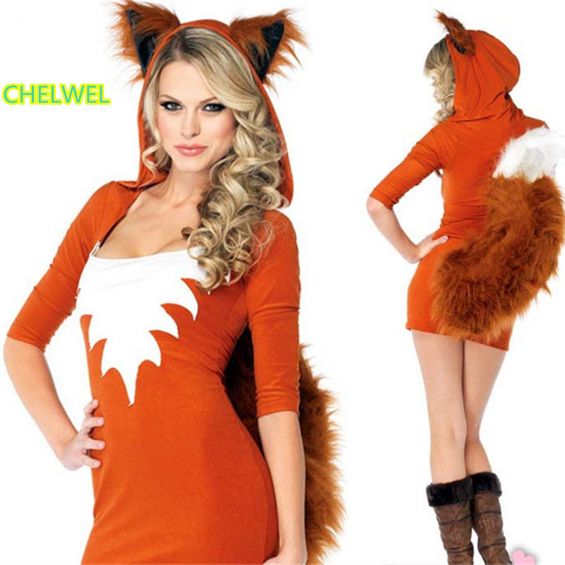 couhunt 2017 fire fox cosplay costumes fox animal queen cosplay costume cat girl animal nightclub masquerade - Fire Girl Halloween Costume
