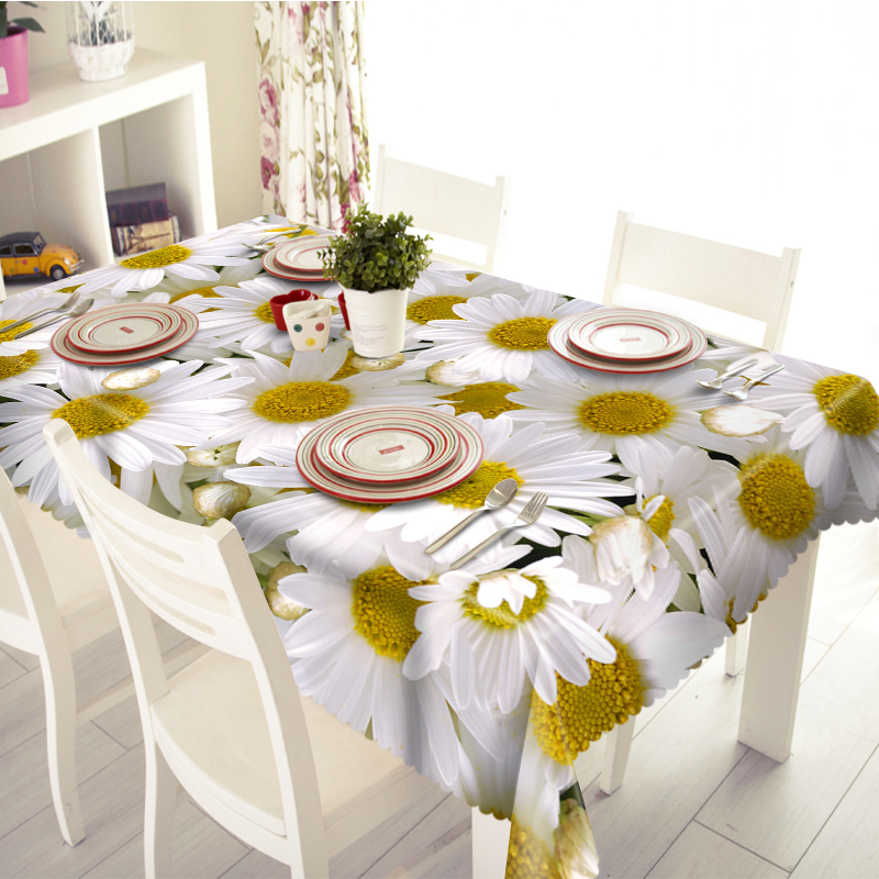 3D Tablecloth Merry Christmas Sunshine Sunflower Pattern Waterproof Cloth Thicken Rectangular and Round Wedding Table