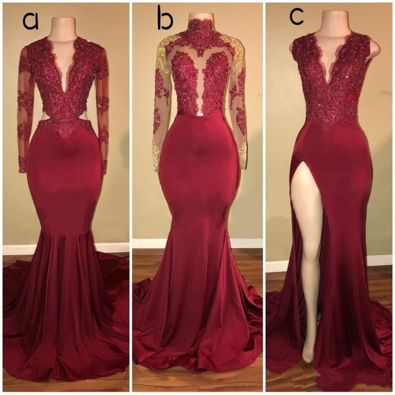 Nigeria Wine Red Long Mermaid   Prom     Dresses   Lace Deep V-neck Sexy   Prom   Gowns Full Sleeves Aso Ebi 3 Style African Party   Dress