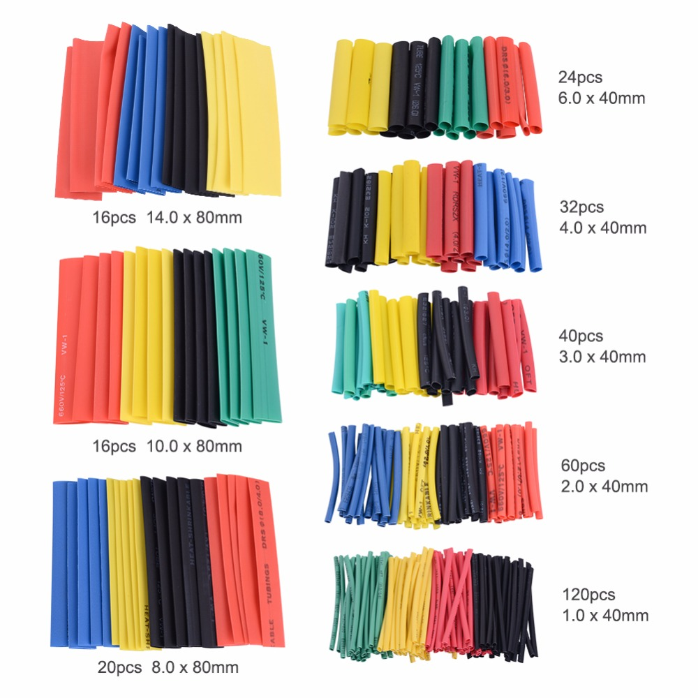 Yieryi 328pcs 2:1 Polyolefin Shrinking Assorted Heat Shrink Tube Wrap Wire Cable Insulated Sleeving Tubing Set