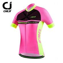 CHEJI Reflective Cycling Cycle Jersey Women s Pink Bike Bicycle MTB Jersey Tops
