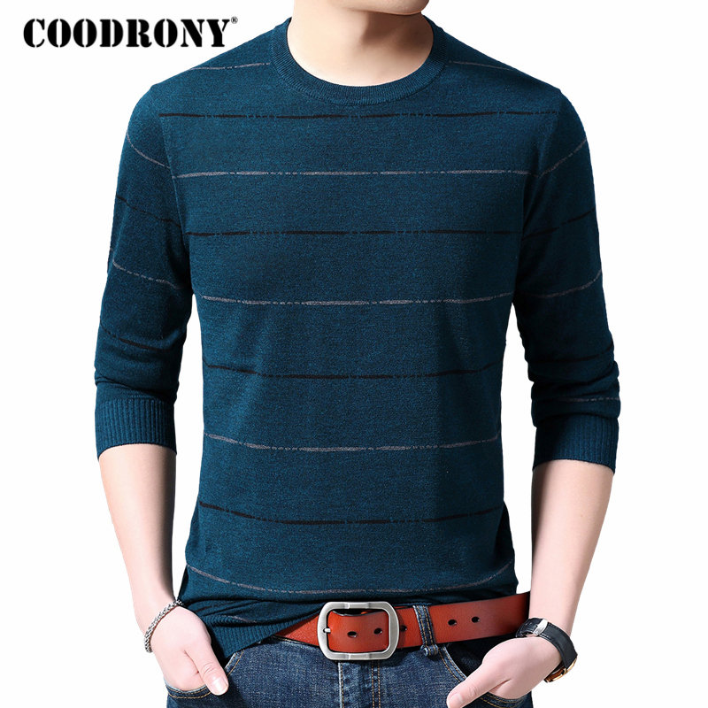 COODRONY Brand Sweater Men Autumn Winter Cotton Wool Sweaters Casual O-Neck Pullover Men Striped Knitwear Shirt Pull Homme 91073