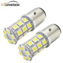 2x H6 Motorcycle Headlight LED Super Bright Lamp Bulbs BA20D 27SMD 5050 High/Low Bixenon MotorBike Moped ATV Headlamp Light