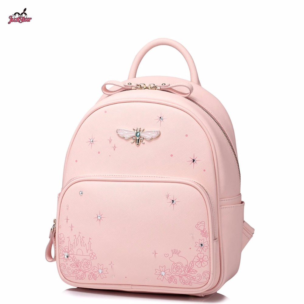 Just Star Brand Design Fashion Printing Diamonds Insect PU Women Leather Ladies Girls Backpack Shoulders  School Travel Bags