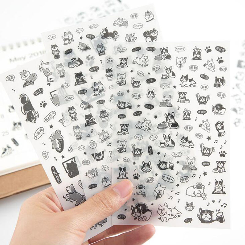6pc/bag, Kawaii Diary Sticker Transparent Pet Dog Creative Student Stationery Cartoon Decoration Diy Diary Set Gift Sticker