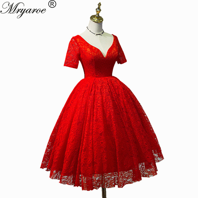 Real Picture Vintage Short Lace Ball Gown Prom Dresses V Neck 1950s Women Dress
