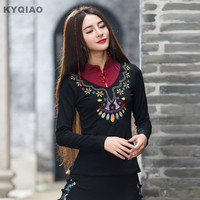 Plus Size Women Clothing 2016 Women Blouses Autumn Ethnic Original Designer Long Sleeve Mandarin Collar Embroidery