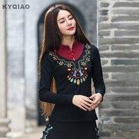 Plus Size Women Clothing 2016 Women Blouses Autumn Ethnic Original Designer Long Sleeve Mandarin Collar Embroidery