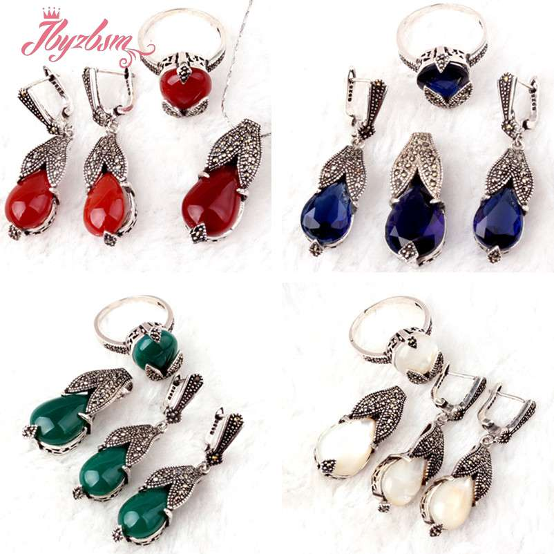 Agat,Crystal Drop Gem Stones Beads Marcasite Tibetan Silver For Lady Party Fashion Pendant Ring Earrings 1 Set,Free Shipping