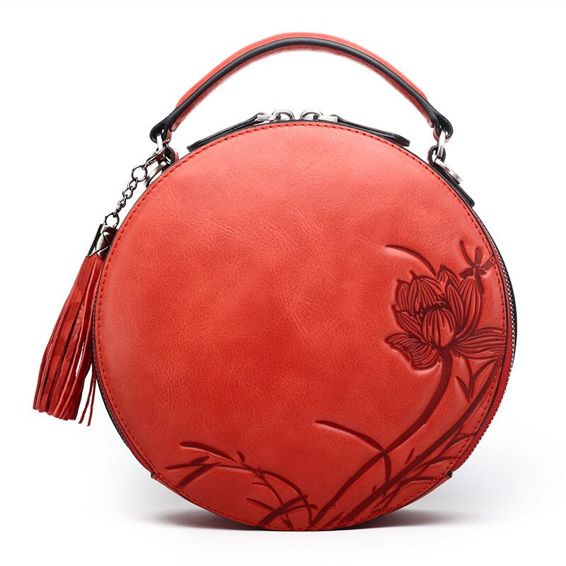 NASIBAO New Handbags Embossed Floral Top quality Cowhide Leather Tote Style Ladies Tassel Round Bag shoulder Messenger Handbag tassel trim floral bardot top