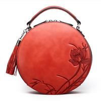 NASIBAO New Handbags Embossed Floral Top quality Cowhide Leather Tote Style Ladies Tassel Round Bag shoulder Messenger Handbag