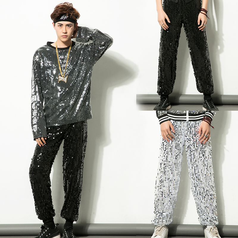 New Adult Jazz Pants Trousers Hip Hop Stage Dance Practice Sequins Black Silver Jazz Pants Male High Street Trousers Pants Cool