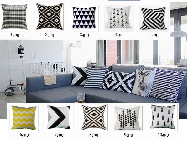 Nordic Cushion Cover Scandinavian Decorative Pillows Case Geometric Pillowcase Velvet Geometric throw pillow black white Cushion