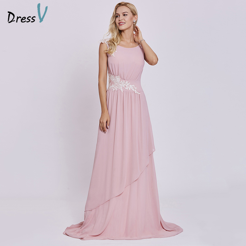 Dressv pink   evening     dress   cheap a line sleeveless scoop neck sweep train wedding party formal appliques   evening     dresses