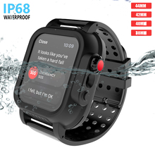 for Apple iWatch Series 3 42MM IP68 Waterproof Bumper PC Watch Case with Rubber Band Strap for iWatch Series 4 44mm 40mm