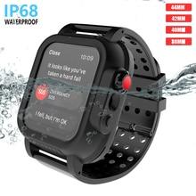 ل أبل iWatch سلسلة 3 42 مللي متر IP68 مقاوم للماء الوفير PC ساعة حالة مع شريط مطاطي حزام ل iWatch سلسلة 4 44 مللي متر 40 مللي متر