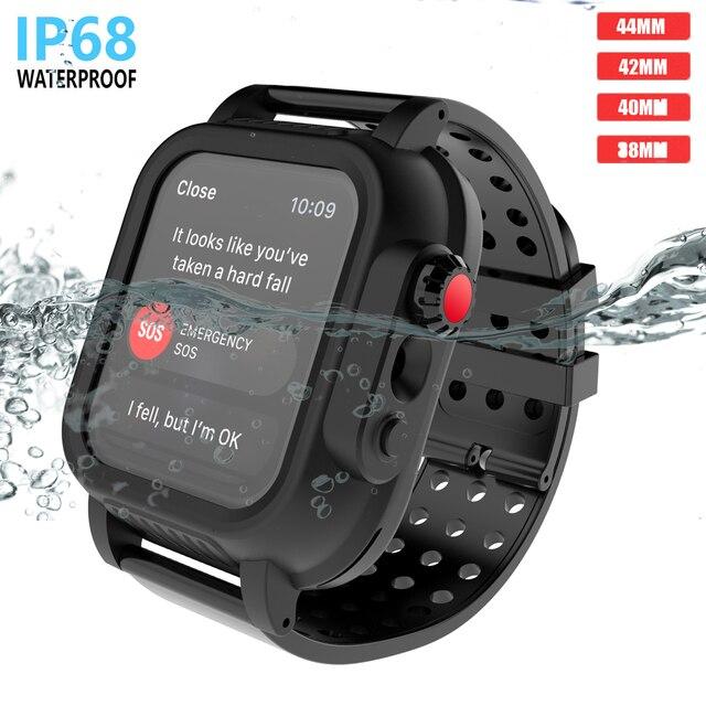 アップル iwatch シリーズ 3 42 ミリメートル IP68 防水バンパー pc 時計ケースとゴムバンド iwatch シリーズ用 4 44 ミリメートル 40 ミリメートル