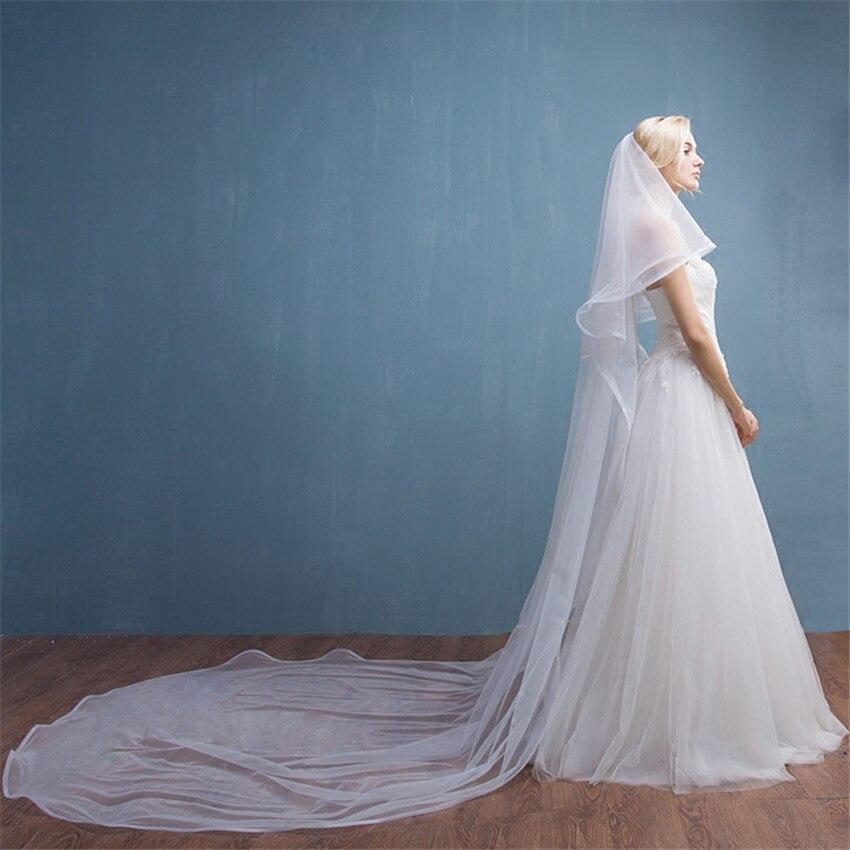 Cathedral 2 Layers Long Bridal Wedding Veils White Ivory Tulle With Comb Veil Bride Velo De Novia Voiles De Mariage Longue 3.5 M