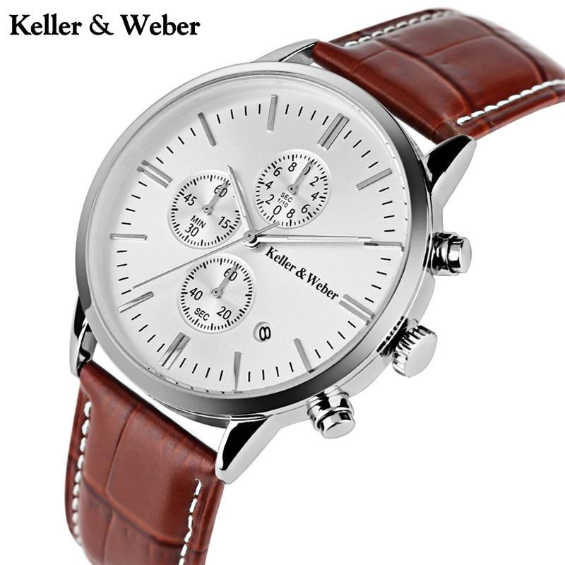 KELLER & WEBER Chronograph Sport Mens Watches Mineral Glasses Quartz Watch Reloj Hombre 2017 Clock Male hour relogio Masculino luise keller luise keller ожерелье 133319