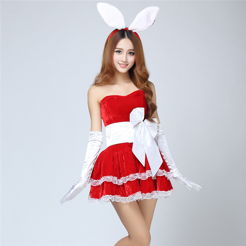 Christmas Dress Winter 2018 Women Cosplay Rabbit Sexy Cosplay Christmas  Clothes Costumes Adult Dancer Mini Dresses Set #40