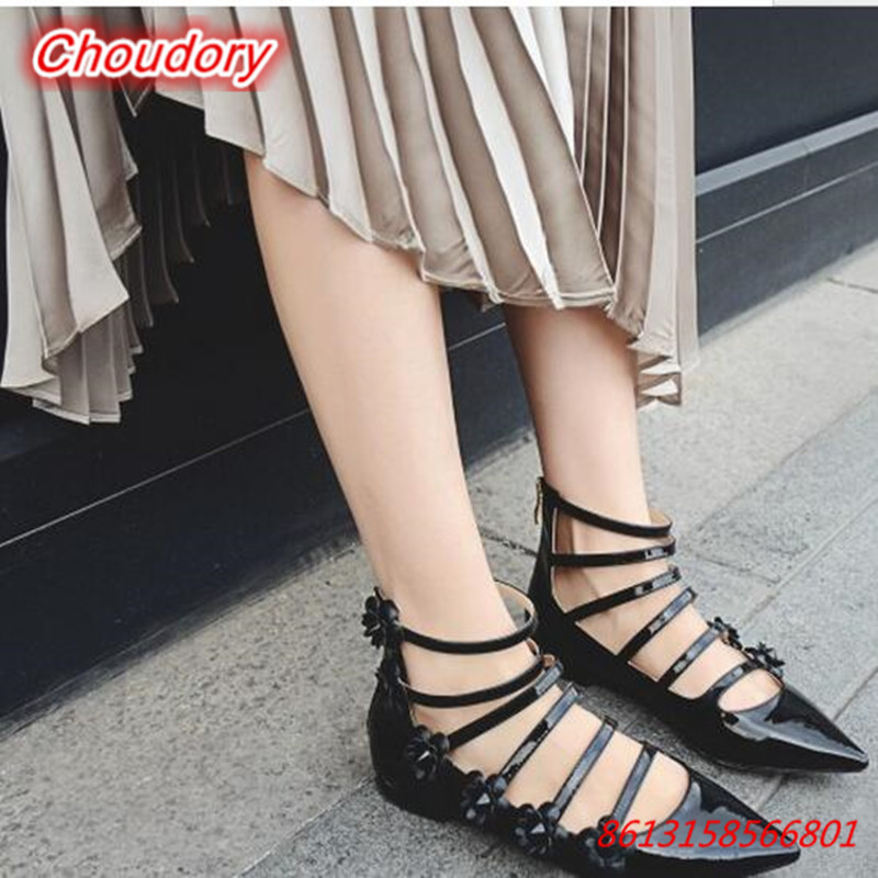 New Fashion Sweet Flower Women Flats Sandals Pointed Toe Ankle Strap Women Shoes Shallow Zipper Gladiator Summer Female Shoes new 2017 spring summer women shoes pointed toe high quality brand fashion womens flats ladies plus size 41 sweet flock t179