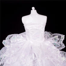 Charming Summer Floor Length White Party Wedding Dress For Barbie Doll Princess Dresses Clothing(China)