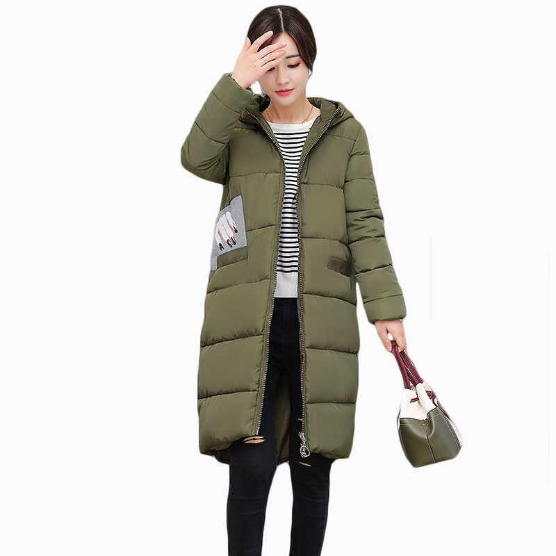 NEW HOT WOMEN WINTER JACKER 2017 MID-LENGTH PLUS SIZE HOODED SLIM THICK WARM FEMALE PARKAS COTTON WADDED COAT ZL662
