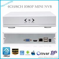 New MINI Onvif 4CH 8CH NVR 1080P P2P Cloud XMEye H 264 Network Video Recorder CCTV