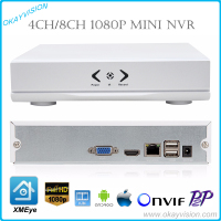 New MINI Onvif 4CH 8CH NVR 1080P P2P Cloud XMEye H 264 Network Video Recorder CCTV