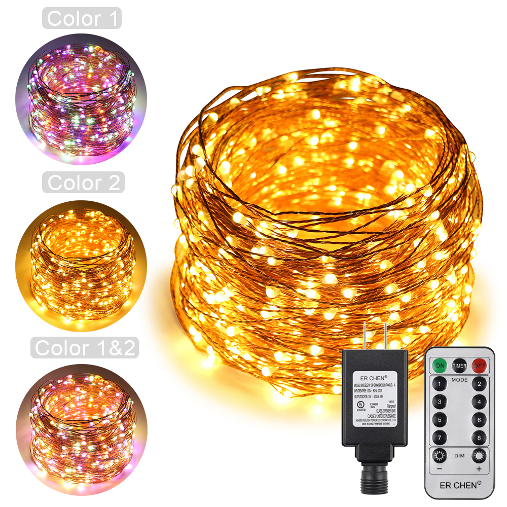 Dual Color LED String Lights 100/200/300/500LED Copper Wire Warm White&Multicolor Remote Decorative Fairy Lights+US Plug Adapter