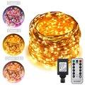 Luzes de fadas em mudança da cor do fio de cobre de 100/200/300/500 leds 8 modos com temporizador remoto