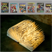 Novelty Night Light Marvel Cartoon Lamp Luminaria USB Portable Folded DuPont Paper Gift Figure Iron Man Hulk Thor Captain America Ant man Spiderman LED Bulb Home Decor USB Rechargeable Chirstmas Gift Kid Toy Lampara
