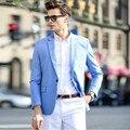 Синий мужские костюмы куртки стильный элегантный one button формальные рабочие костюмы куртка индивидуальные жених свадебное платье куртка