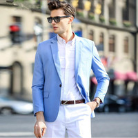 Blue Men Suits Jacket Stylish Elegant One Button Formal Work Suits Jacket Tailor Made Groom Wedding