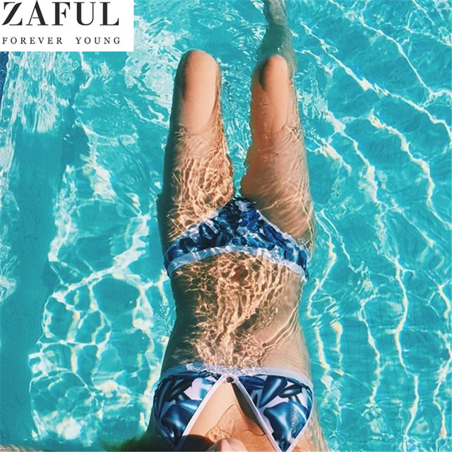 92aceebb1a ZAFUL 2018 Women Sexy Push Up Bikini Set Leaf Print Swimwear Brazilian  Swimsuit High-Cut Bathing Suit Beachwear maillot de bain