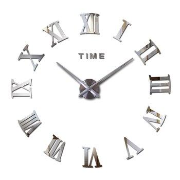 Reloj de pared de moda DIY personalizado acrílico espejo pegatinas gran reloj de cuarzo decorativo todavía vida sala de estar