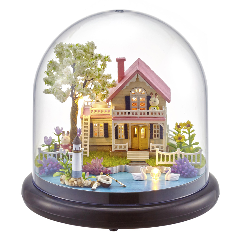 Cute Room Doll House Miniature DIY Dollhouse With Furnitures Wooden House Handmade Toys Gift Spring Flowers