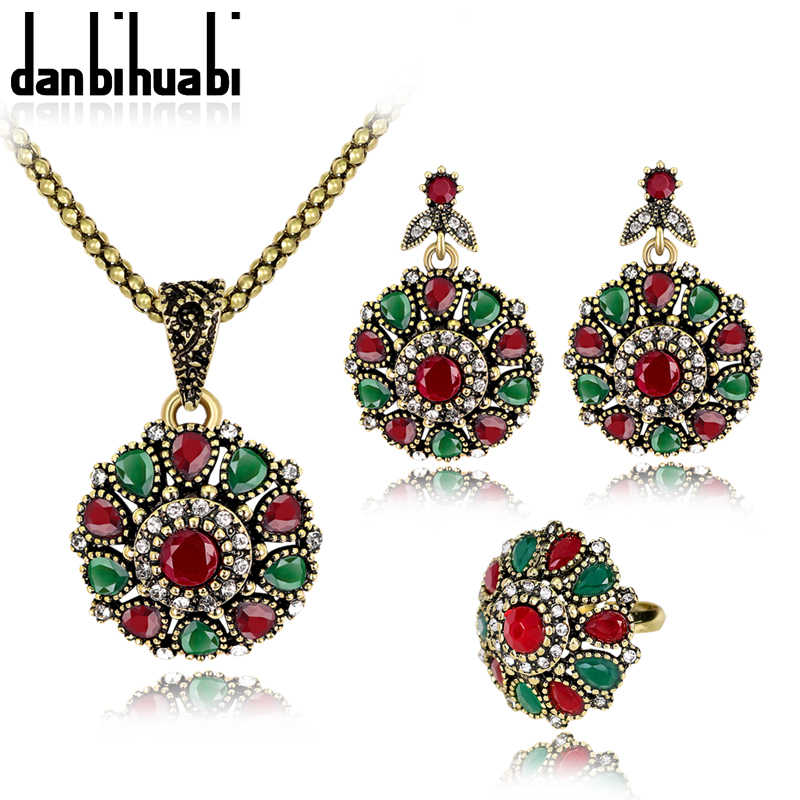 danbihuabi Vintage Crystal Flower Necklace&Earings&Ring Jewelry Sets For Women Wedding Enamel African Beads Jewelry Set
