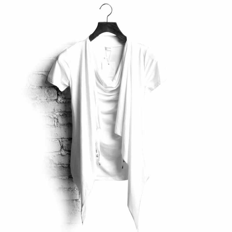 f77bdafa Non Mainstream Personality Faux Two Piece Male Heap Turtleneck Slim Short  Sleeve T Shirt Trend of
