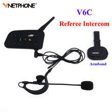 1PCS V6C Wireless Bluetooth Earphone Sccoer Referee Intercom Headset Full Duplex Interphone Two-way Football Coach Intercom