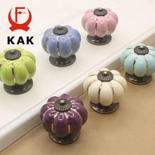 KAK Ceramic Drawer Knobs 40mm Cabinet Pulls Kitchen Handles Cartoon Pumpkin Furniture Handle for Kids Room Furniture Hardware