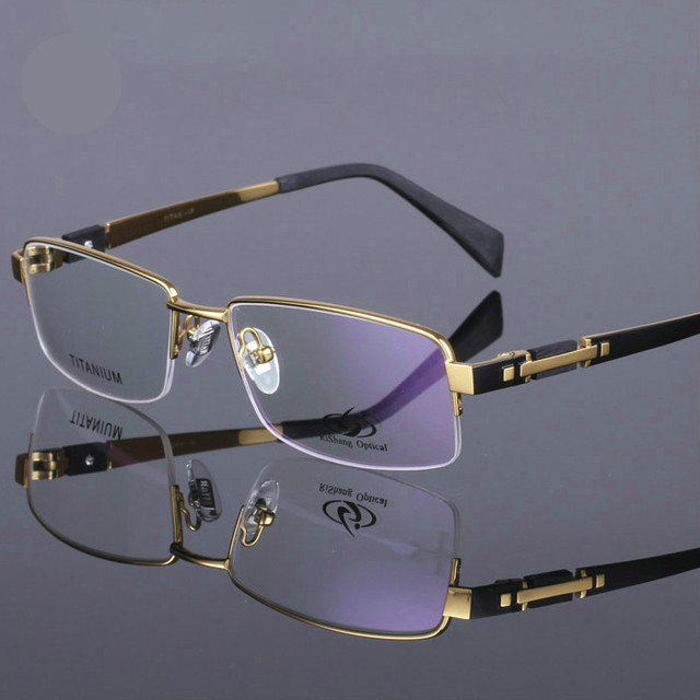 2016 original de la marca placa de oro gafas de alta calidad pure titanium medio gafas marco gafas de miopía gafas de sol tg8001