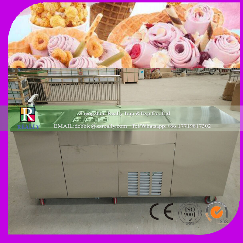 New designed mobile fried ice cream machine with water tank freezer and a font b closet