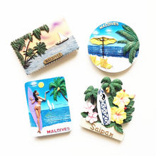 Hot Sale Asia Maldives Bikini Beauty Coconut Tree Tourist Souvenir Resin 3D Refrigerator Magnetic Stickers Home Decoration(China)
