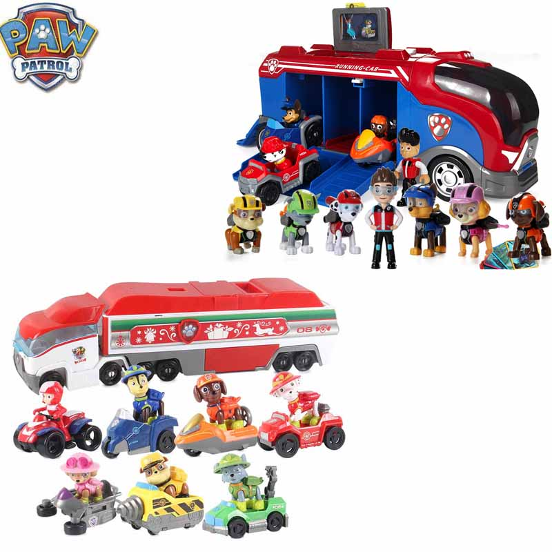 Paw Patrol Patrulla Canina Lookout Tower Anime Figure Bus Car With Music PVC Action Figures Kids Toys For Children Gifts D67